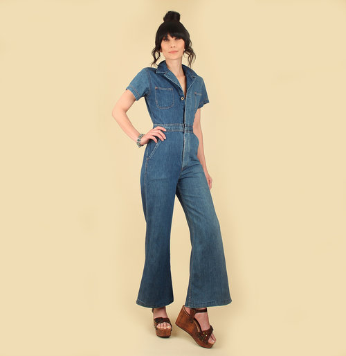 3d7c495bfc5 vintage 70s denim jumpsuit hellhound vintage hellhoundvintage jeans bib  overalls light denim vintage clothing fashion style