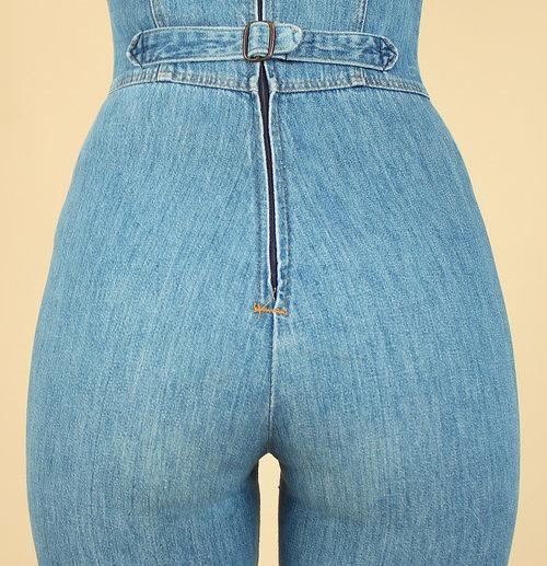 d79b152f493 vintage 70s denim jumpsuit hellhound vintage hellhoundvintage jeans bib  overalls light denim vintage clothing fashion style