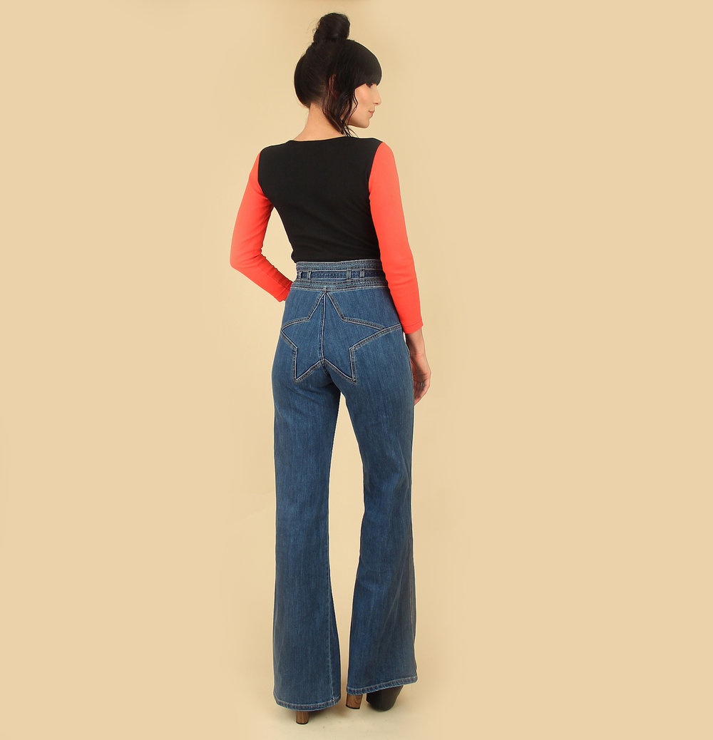 632dd3e6dc9a Stoned Immaculate STAR Bell Bottom Jeans    Size 26 + 27 + 28    Made in  Los Angeles — Hellhound Vintage