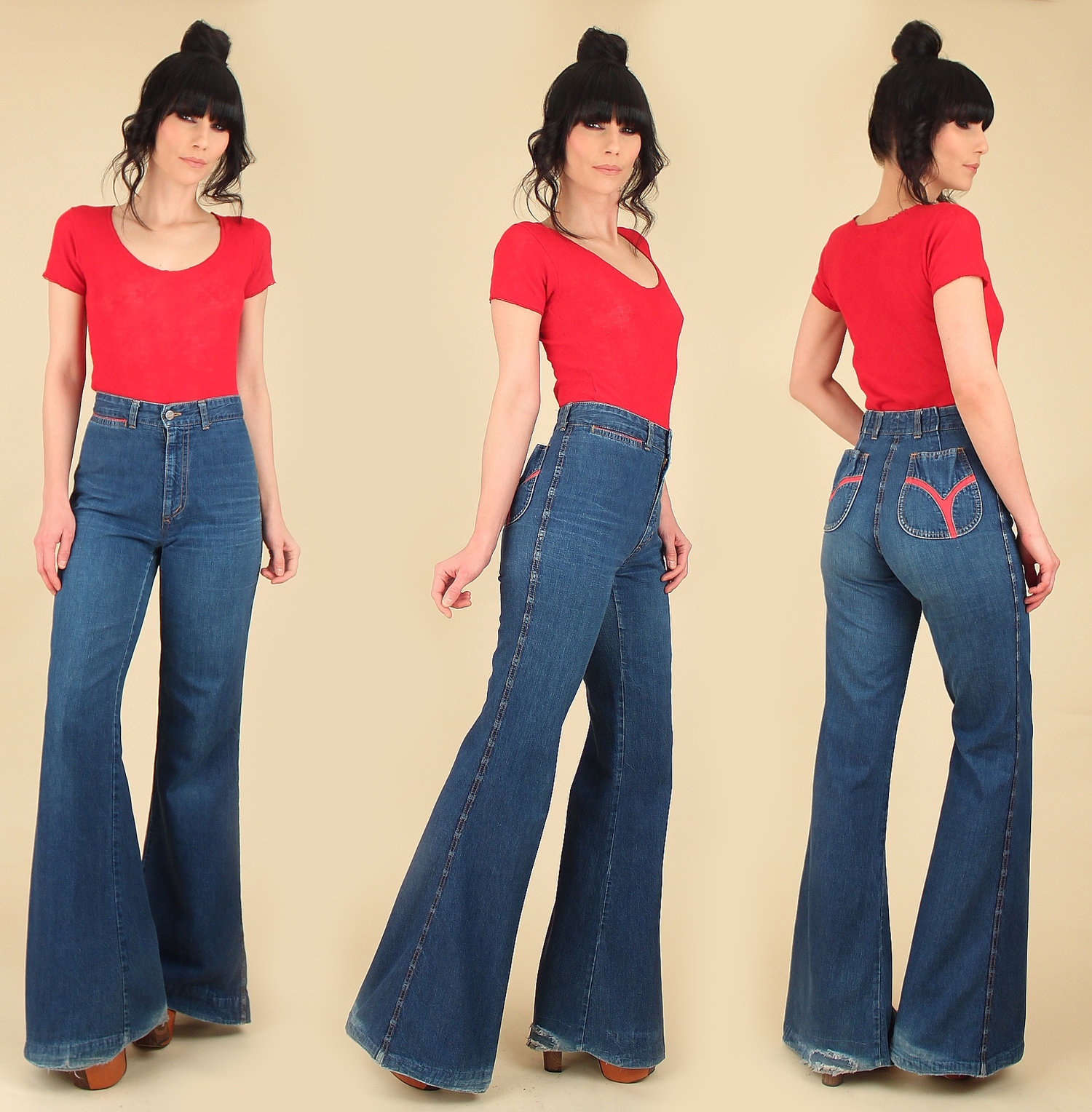 686b8dc228 Vintage 70s High Waisted Bell Bottom Jeans // by Chemin de Fer — Hellhound  Vintage