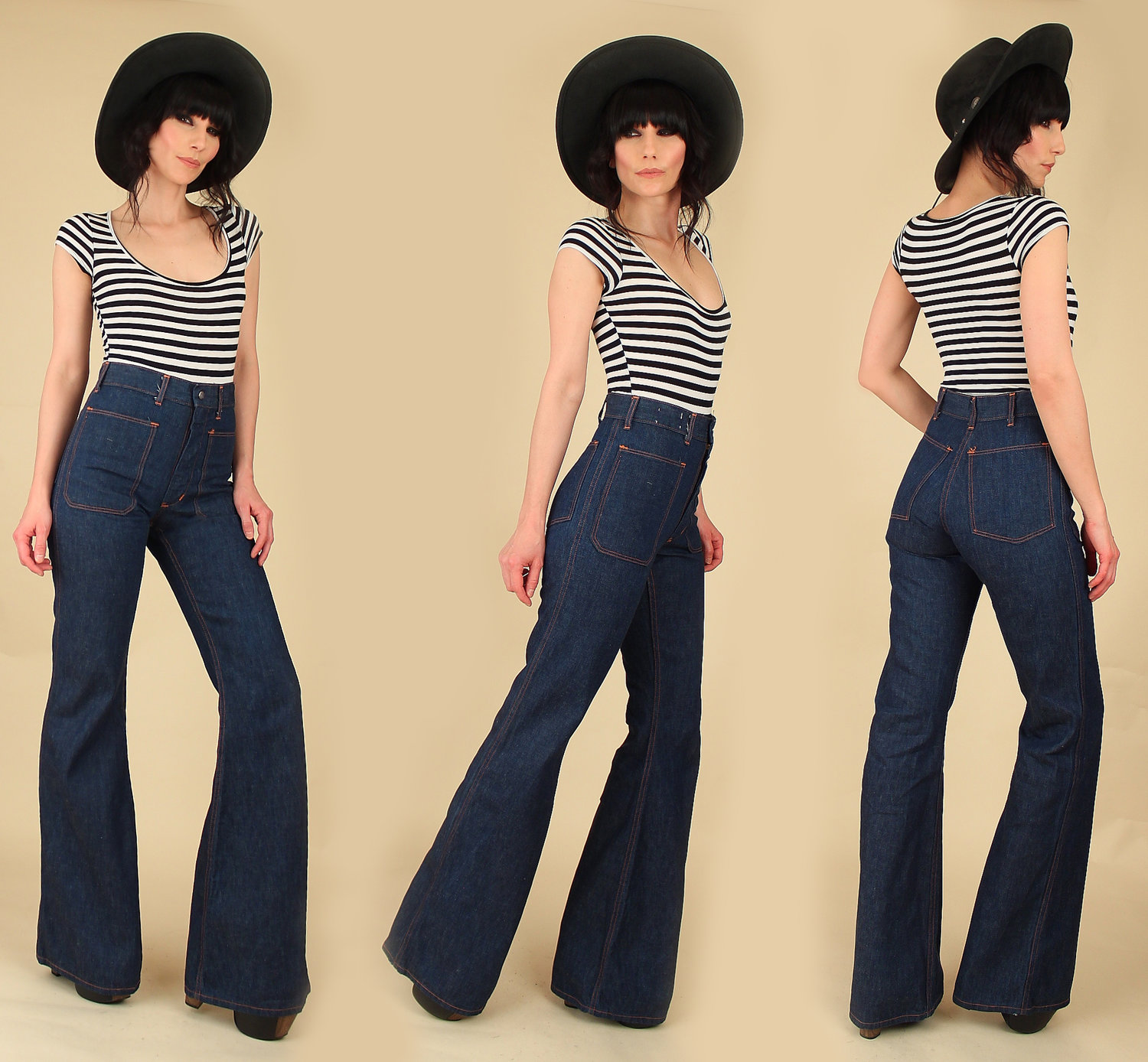 0e31be7828 Vintage 70s High Waisted Bell Bottoms // 1970s Denim // Made in USA ...