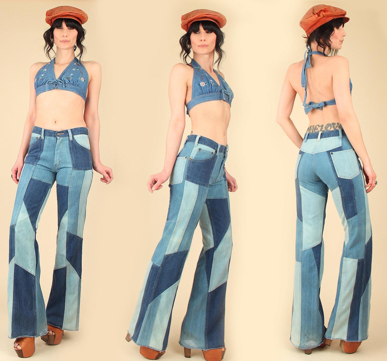 751c39c4 Vintage 70s High Waisted Bell Bottoms // Patchwork Dark Denim Jeans ...
