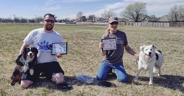 Chris and Sérge with first place in Xtreme Distance Micro Dog Division and Clyde and Boomer with an amazing 213ft throw for first place in Xtreme Distance Unlimited Division.