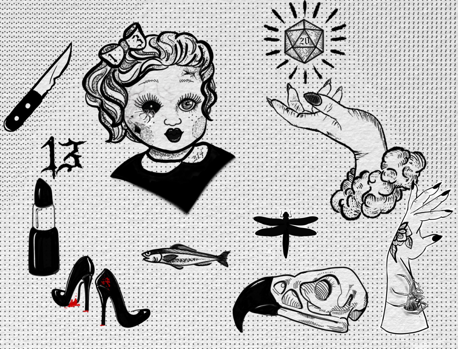 4064220f2 nikole flash sheets cropped.jpg. Nikole Knebel - Friday the 13th Flash  Collection (Small and Medium). from 30.00