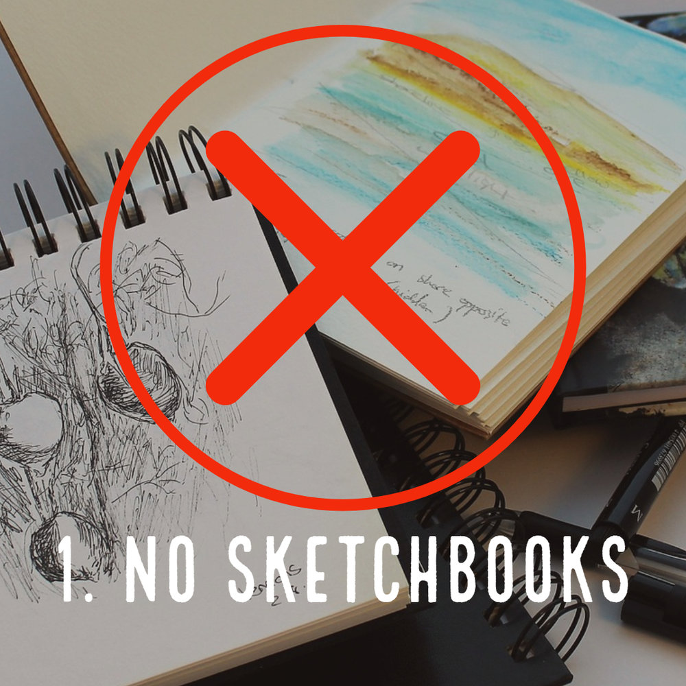 Pencil Sketches Do Not a Portfolio Make. - Fill your portfolio with hours and hours of hard work. This makes solid, completed art. NOT A SKETCHBOOK! Anyone can assemble a book of doodles and 30 min. sketches, but it takes a serious artist to create a portfolio of professional, quality work that demonstrates knowledge of design concepts and proficiency in multiple mediums. Do the work of a professional and that is what you will become.