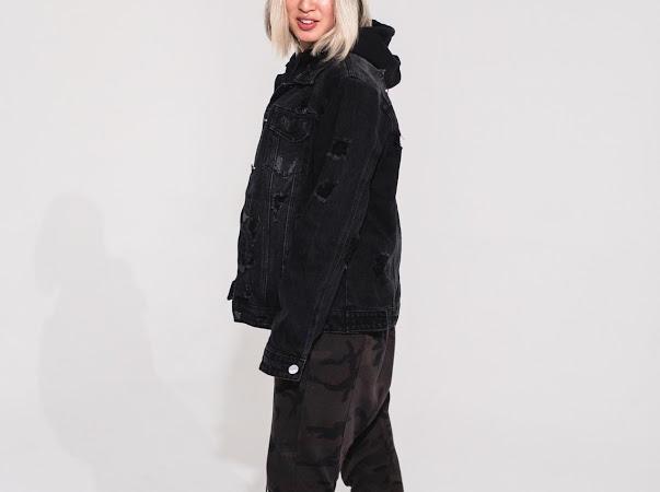 Ash Black Women Distressed Denim Jacket