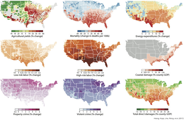 Estimating Economic Damage From Climate Change In The United States - Us-crime-map-by-county