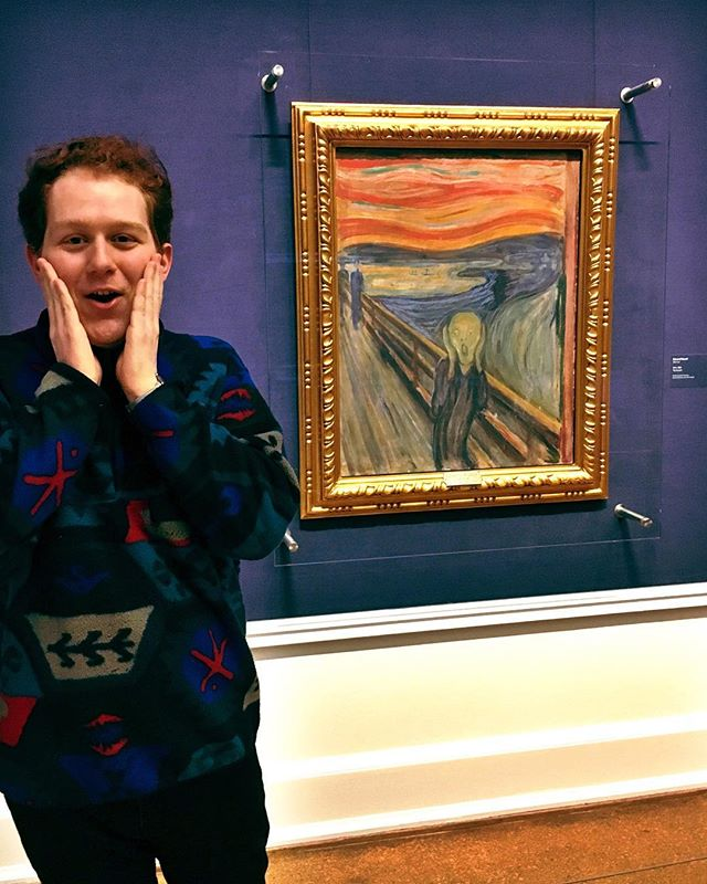 Who wore it better: existential dread. Me thinking about how I have no idea what I'm doing in grad school or The Scream? #Oslo 🇳🇴 Not pictured: the socks I'm wearing which have this painting printing on them