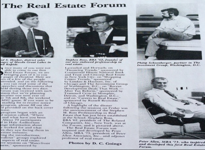 Speakers At The 1st Forum Included Stephen M. Ross (Pictured In the Dividend, Fall 1988 Issue)