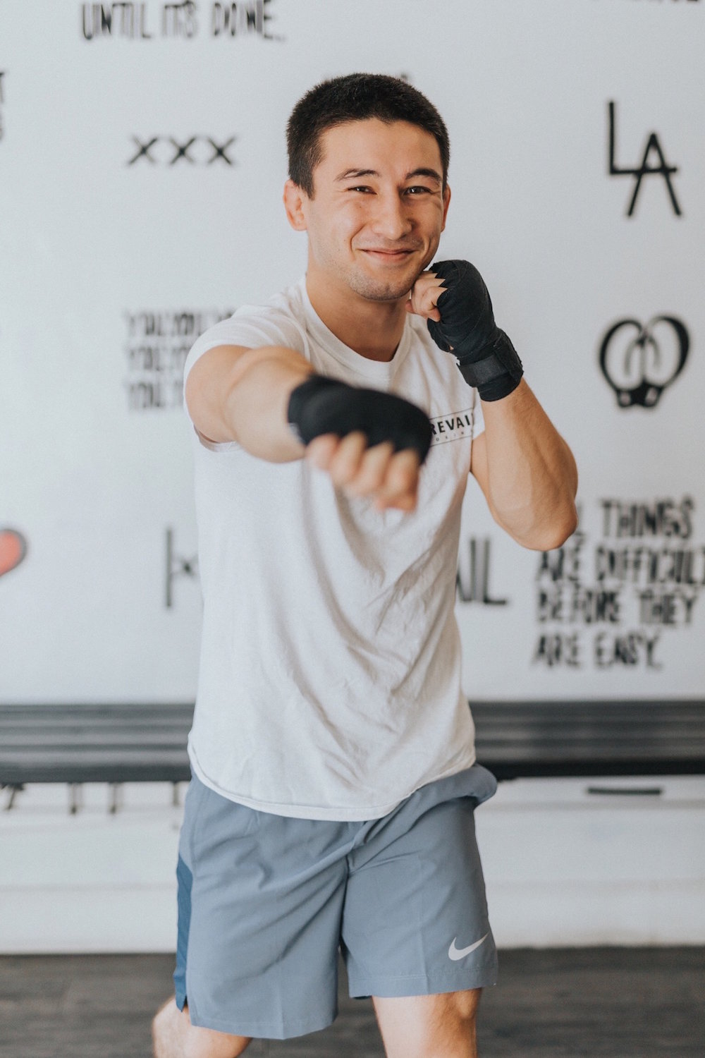 Originally from:  Greensburg, PA   How he learned to hit so hard:  2+ years of boxing. 8+ years of Muay Thai & Jiu Jitsu.   Favorite workout song:  The Heavy –  How You Like Me Now    Go-to inspiration:  Most people quit at 40% of what they are capable of. Don't be most people.   Workout with Gavin if:  you want a sharp technical eye to help you master and understand the fundamentals, so you can grow into more advanced concepts.   Gloves off, you can catch Gavin Prevailing:  cooking insane feasts & devouring them himself.