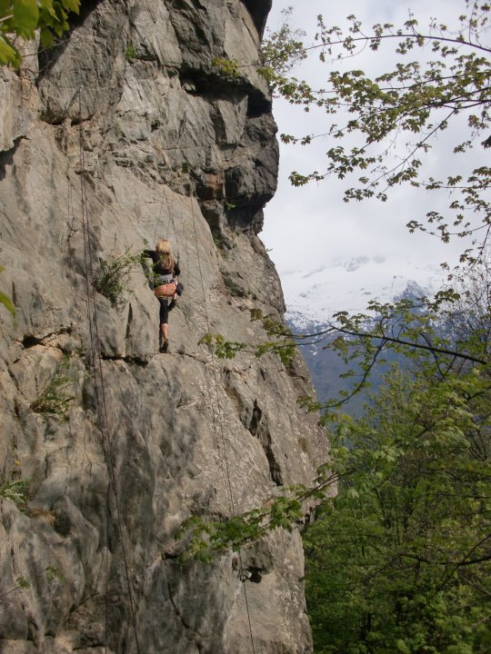 Liz climbing in Chamonix, France.
