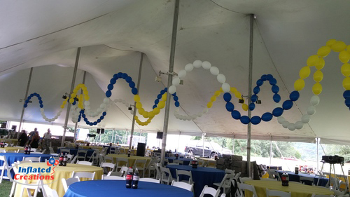 Tent Decor - Blue/Yellow/White Waves