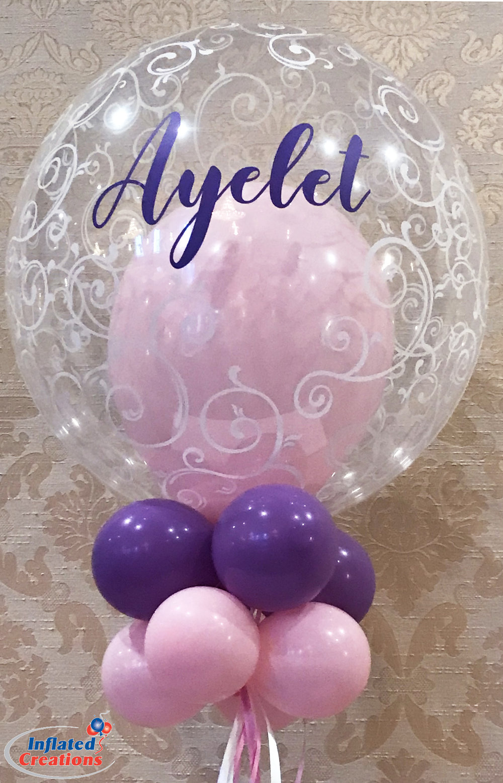 Custom Name Filigree Double Balloons