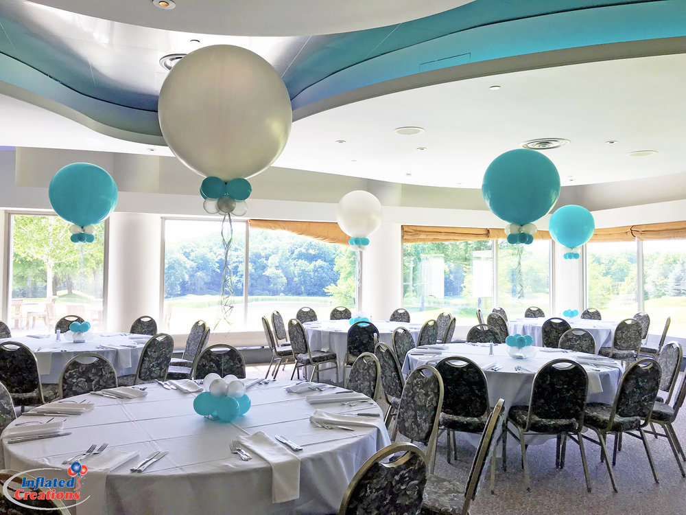 Teal & White Party Balloons