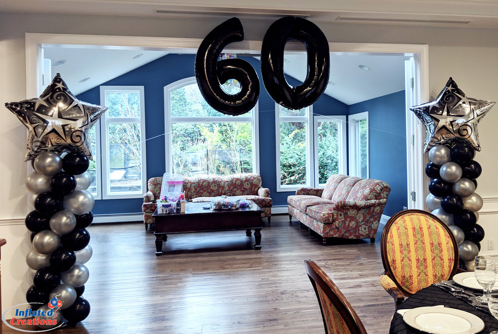 Megaloon Black Numbers - 60th Birthday Balloons