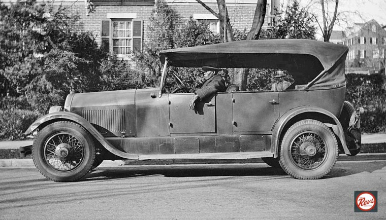 Hawkins and a mid-1920s Stutz touring car.
