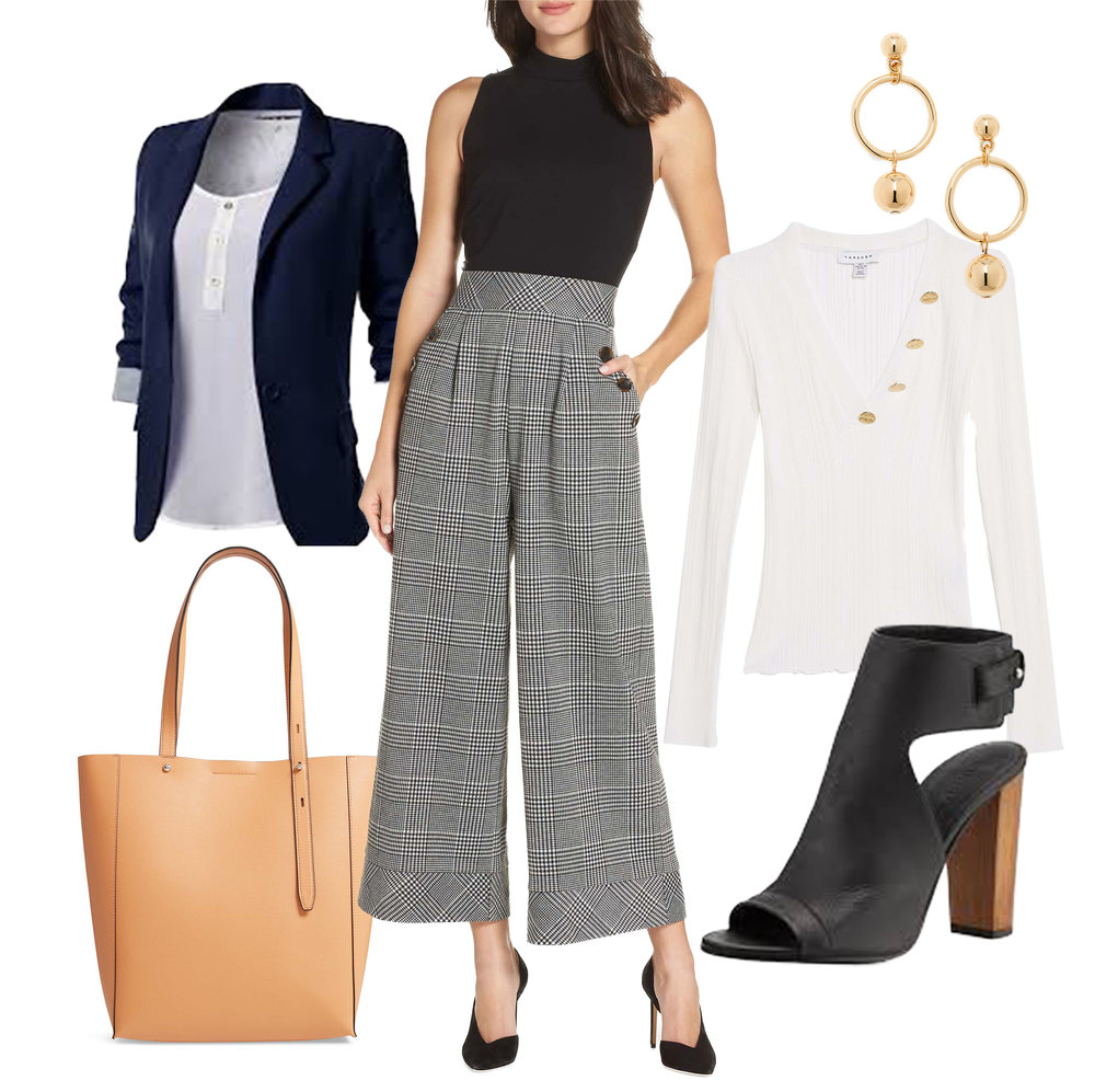 Business Casual - Go-To Pieces:-Blouses or Jumpsuits-Informal, unstructured jackets-Sweaters or vests-Dressy flats or boots-Delicate jewelry