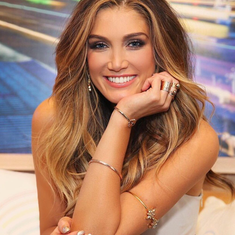 Delta Goodrem wearing the Trinity Armband and Earrings