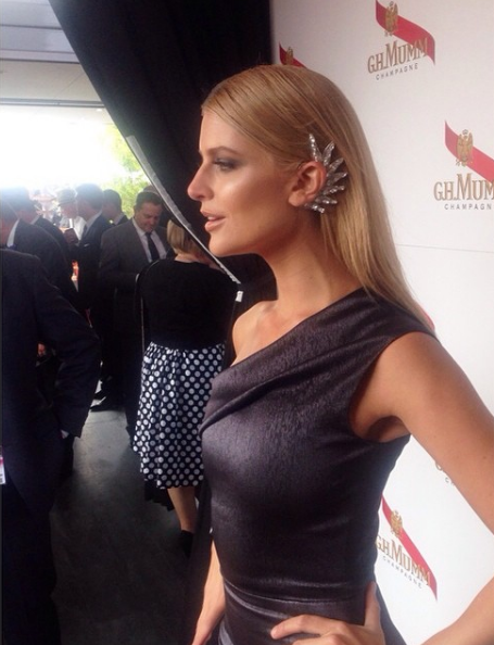 Sophie Van Den Akker at Derby Day wearing the Balyck Swarovski Crystal Ear Cuff.