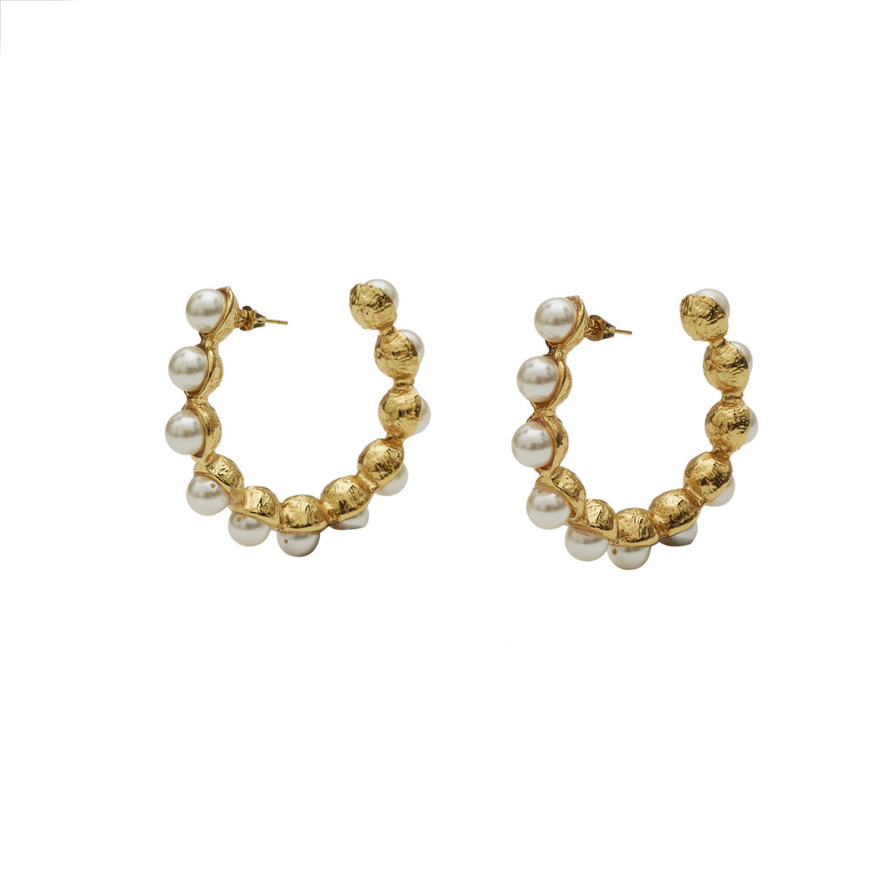 Reverie Gold Pearl Earrings - $250. AUD