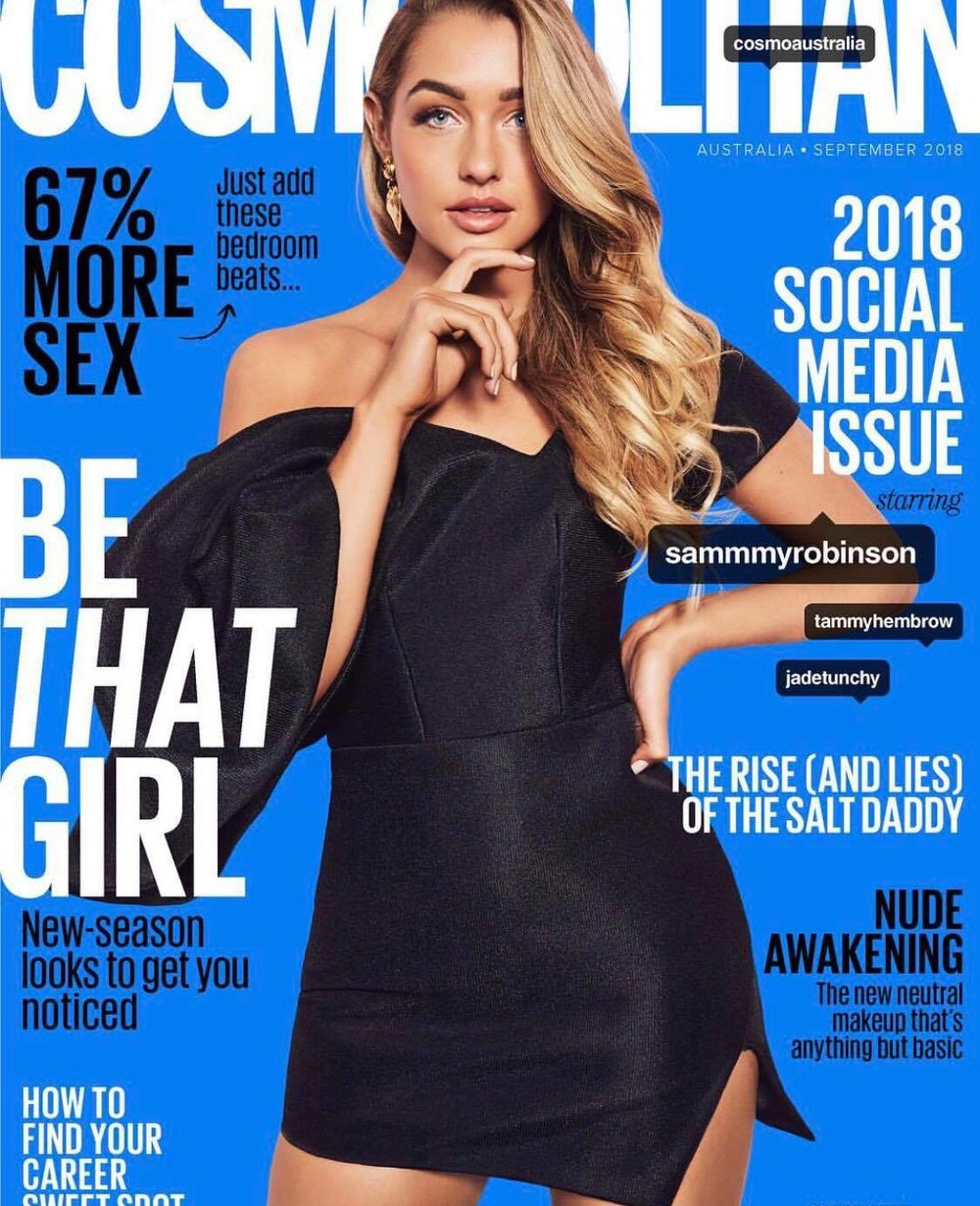 Wearing the Amore Earrings on the cover of Cosmopolitan Australia