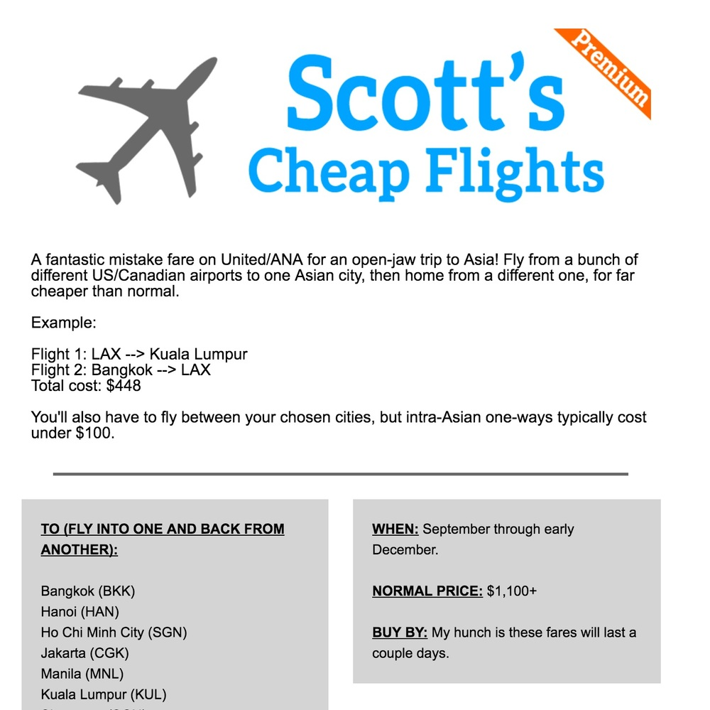 Scotts Cheap Flights, a deal from USA>Asia>USA