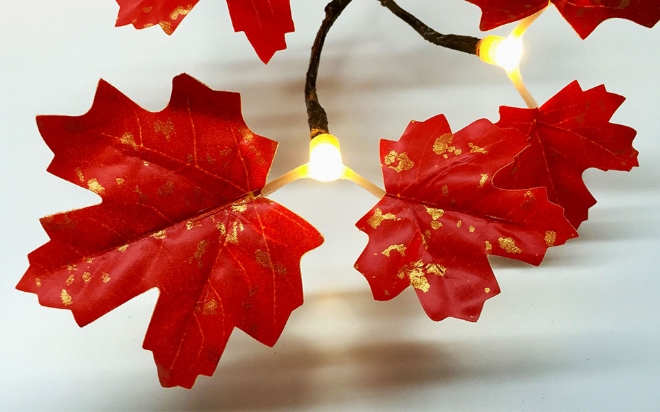 Maple, Red & Gold Leaf with Warm White LEDs