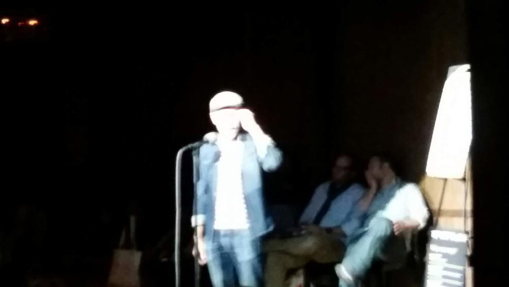 Yours truly sporting a Canadian tuxedo on stage at The Moth.