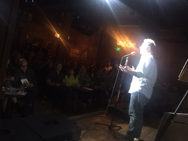 Host Brian Finkelstein in front of a packed house.