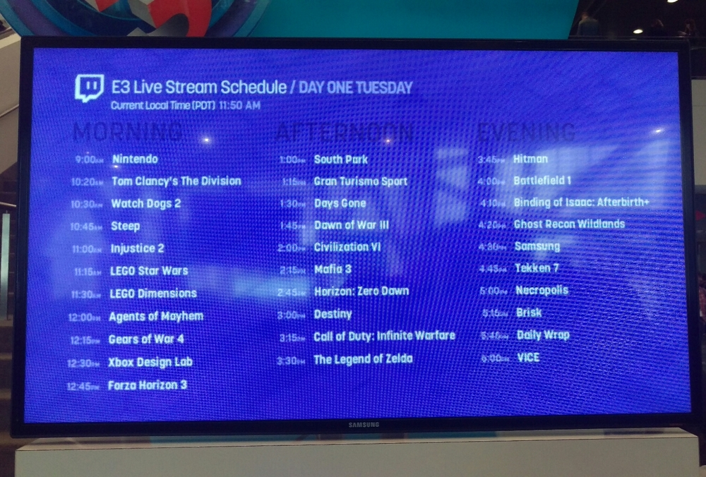Today's live stream schedule