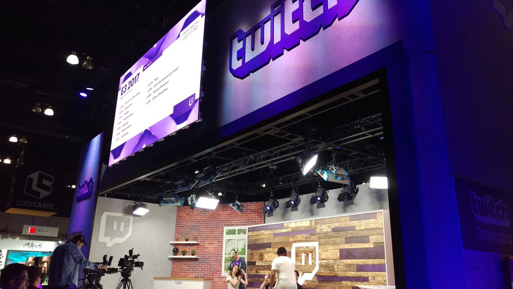 The official Twitch stream booth. I really wanna jump on set once. Like on the final day.