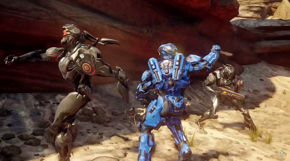 Blue team member fighting against Promethean enemy AI