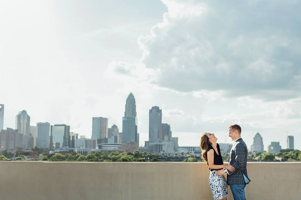 AshevilleFolk Summer City Guide: Charlotte NC with Megan Geilow. Charlotte Skyline engagement photos