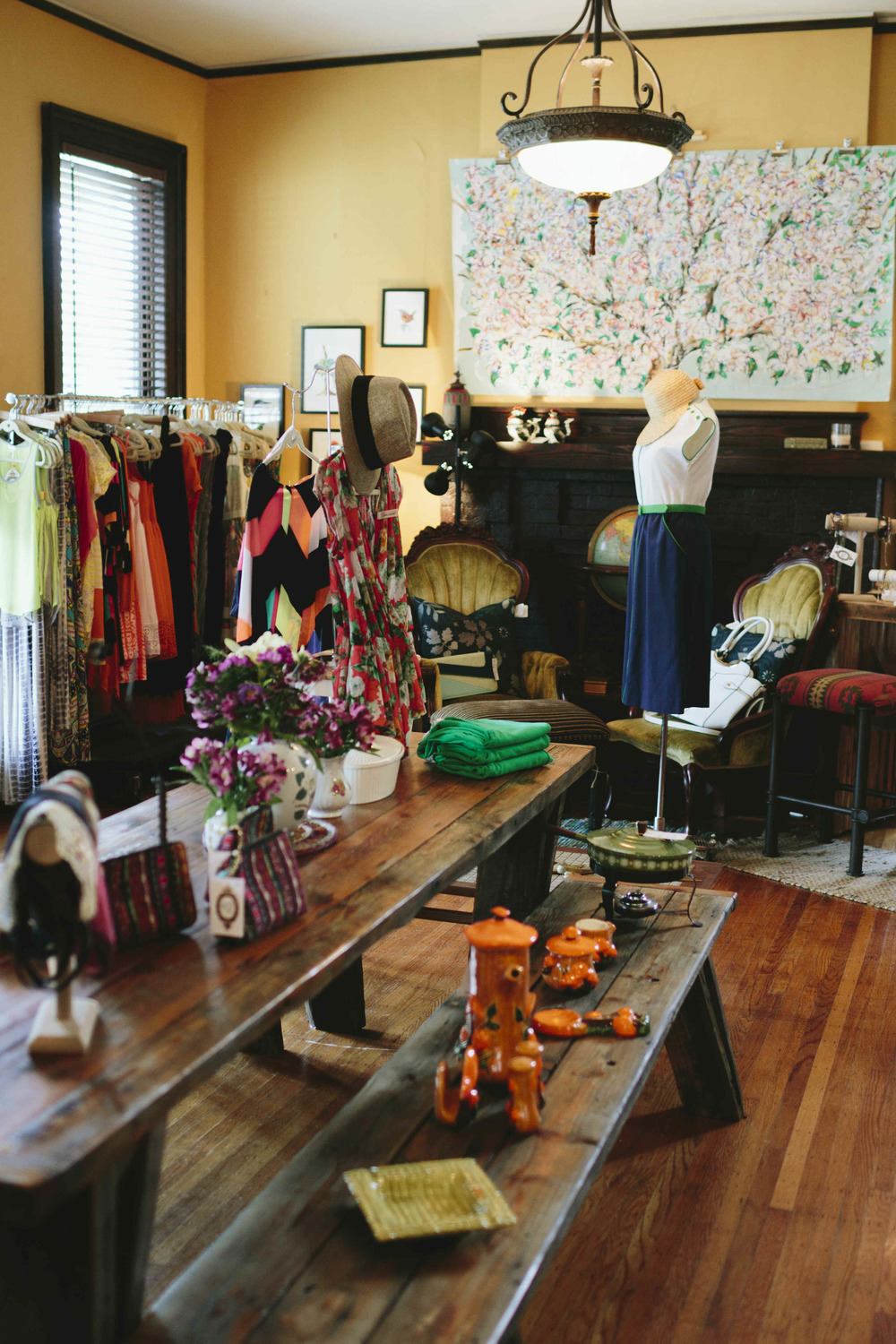 AshevilleFolk Summer City Guide. Charlotte NC with Megan Gielow. Frock Shop. Modern and vintage pieces displayed in a charming bungalow.