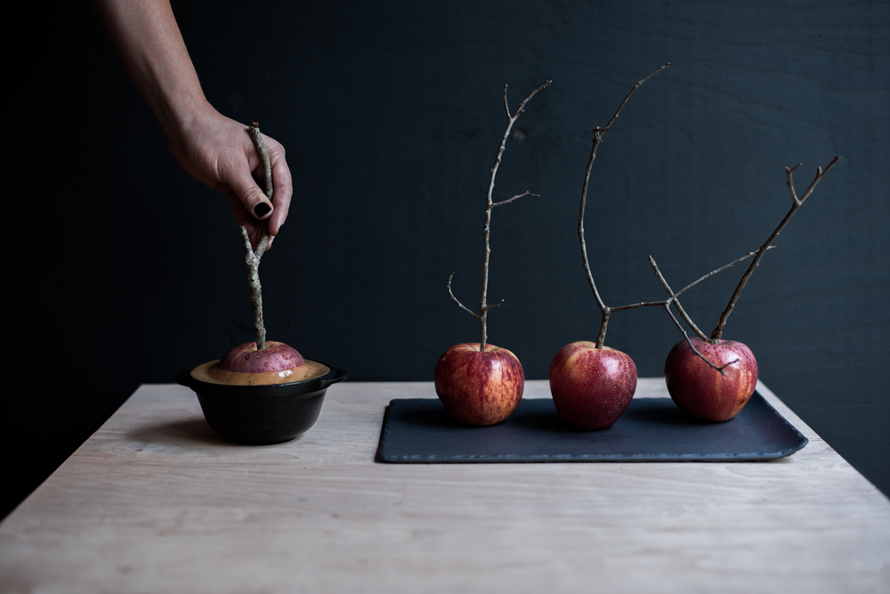 Asheville Folk: A Grown-up Halloween by Chelsea Lane. 7. Prefer dessert over an after dinner drink? How about dipping an  apple into melted salted caramel?  Spooky stick for a handle is optional.