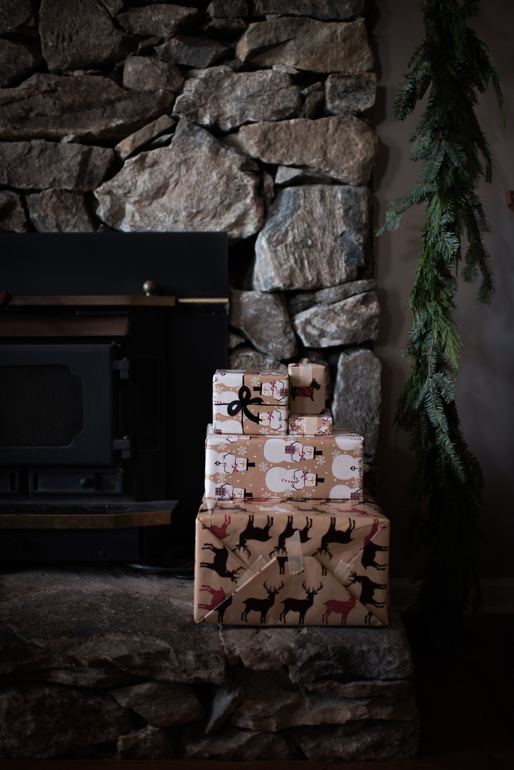 """Asheville Folk: A Thrifty Christmas by Chelsea Lane. Shipping gifts this year? Skip the bows and ribbons. Doodle on a """"gift tag"""", draw a bow on top. This is also good for stacking gifts in a small apartment."""
