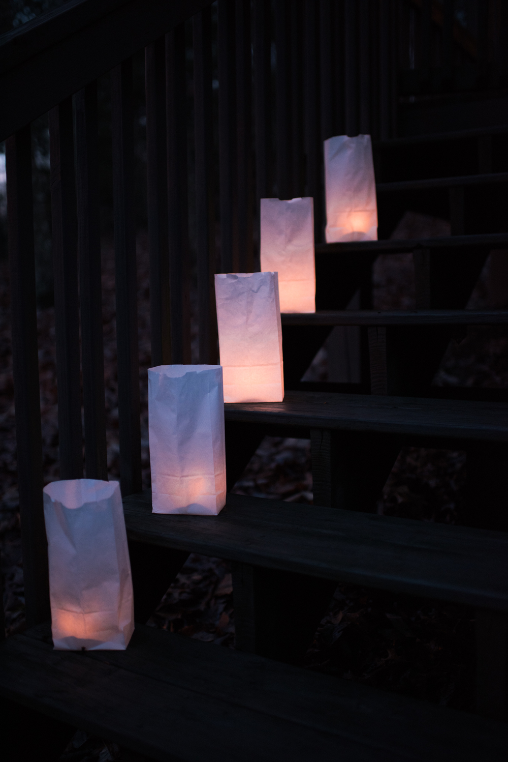 Asheville Folk: A Thrifty Christmas by Chelsea Lane. And lastly, create a classic luminary. White lunch bags were less than $3 at the grocery. Add a votive and rocks/sand to steady. Set the along your driveway, porch, stairway… glorious.