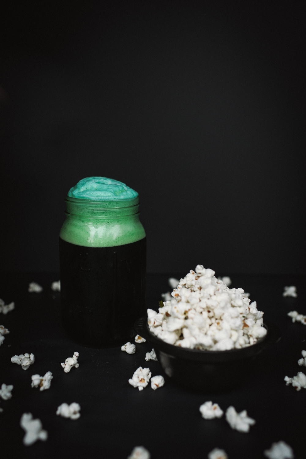 A St. Patty's Day to Remember: Pair your green beer with this Truffle Parmesan Popcorn recipe. Photo by Chelsea Lane Photography