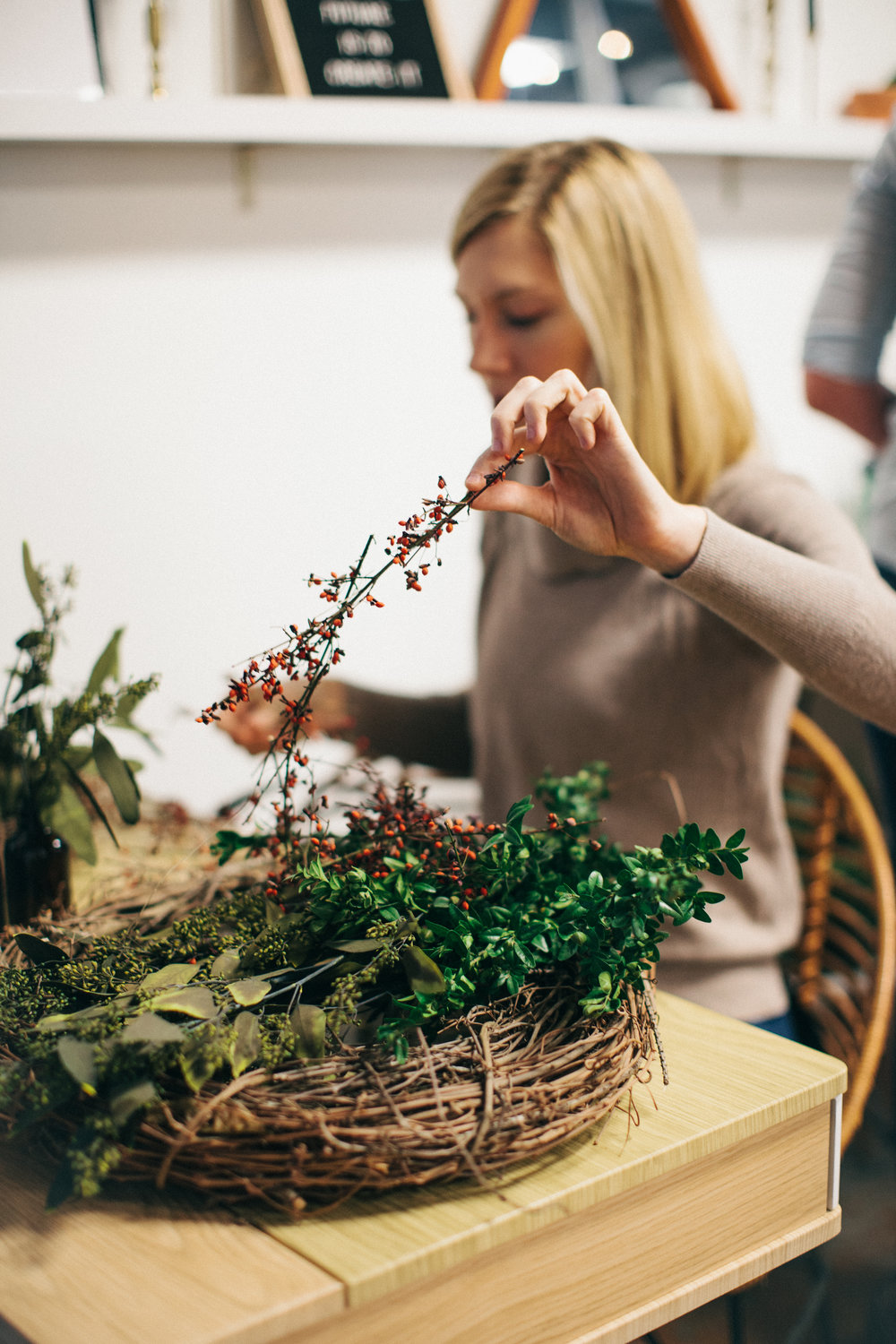 I am so thankful for this workshop because I was given a moment to slow down, be present, create, and connect with those around me. Holiday Wreath Making Workshop by Lyndsey Parham