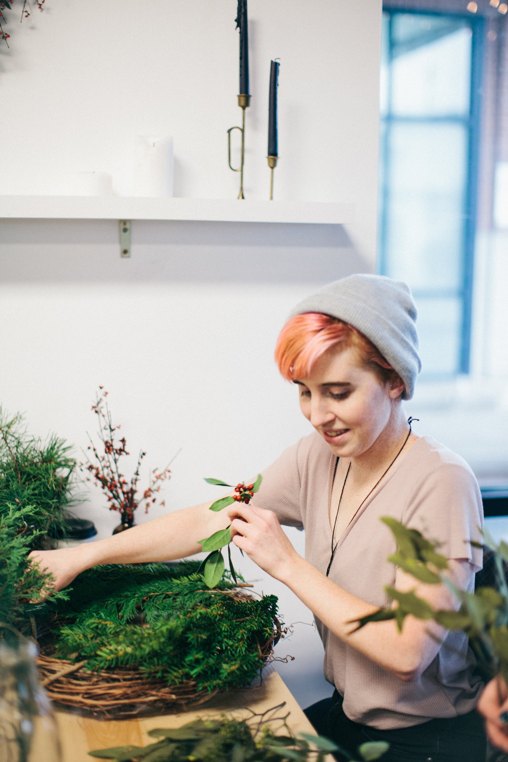 I am so thankful for this workshop because I was given a moment to slow down, be present, create, and connect with those around me. Asheville Folk Holiday Wreath Workshop by Lyndsey Parham