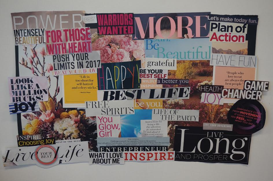 I thought it would be cool to do something different this year - something to remind myself daily of the hope and inspiration and newness this year will bring. Enter: a vision board! DIY Vision Board by Carissa Borntreger