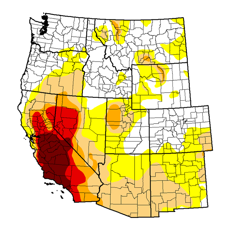 The US Drought Monitor produces a weekly map of drought conditions based on measurements of climatic, hydrologic and soil conditions as well as reported impacts and observations drawn from around the United States. The US Drought Monitor is a joint initiative of the National Oceanic and Atmospheric Administration, the US Department of Agriculture, and the National Drought Mitigation Center at the University of Nebraska-Lincoln. Regional conditions as of April 12, 2016.