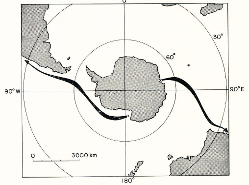 """Optimum towing paths between the Amery Ice Shelf and Australia and the Ross Ice Shelf and the Atacama Desert."" Fig. 8, Weeks and Campbell, 1973, p. 220."