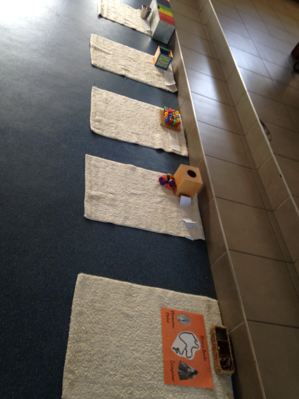 Prepared stations for the children. They requireparent assistance this buildsteam work, communication and mother-child bond.