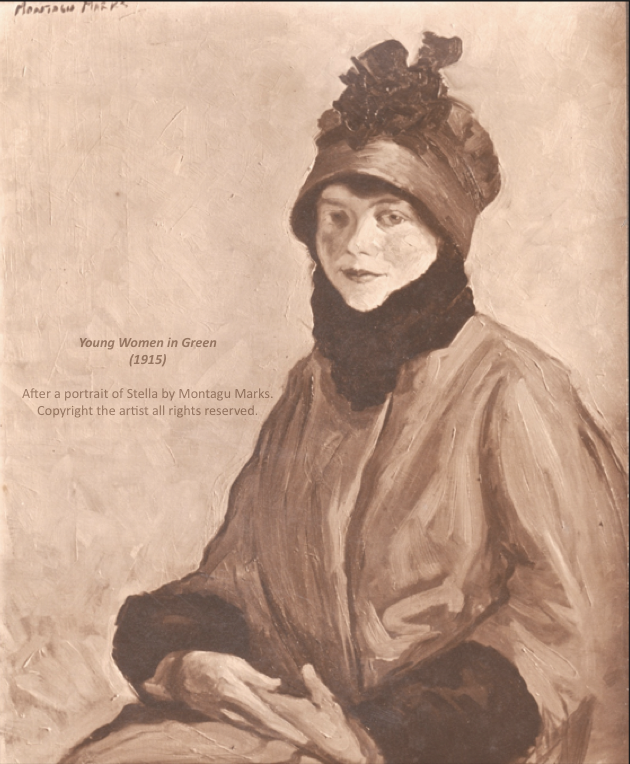 After a portrait of stella Marks by montAgu Marks in 1915. Copyright Montagu Marks' Estate all rights reserved