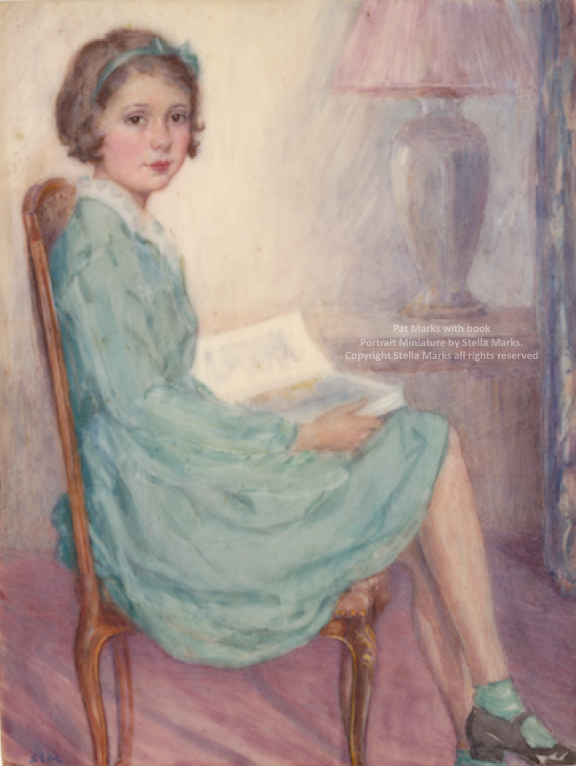 Pat Marks aged 10. portrait miniature by stella marks. copyright stella marks' Estate all rights reserved. Private Collection.