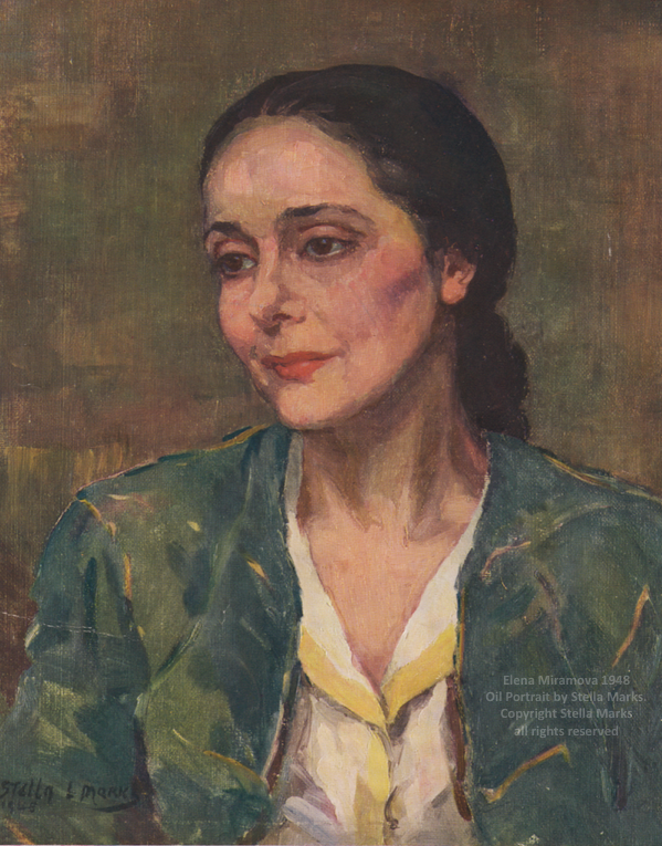 Elena Miramova 1948 or earlier. Oil portrait by stella marks. copyright stella marks' Estate all rights reserved