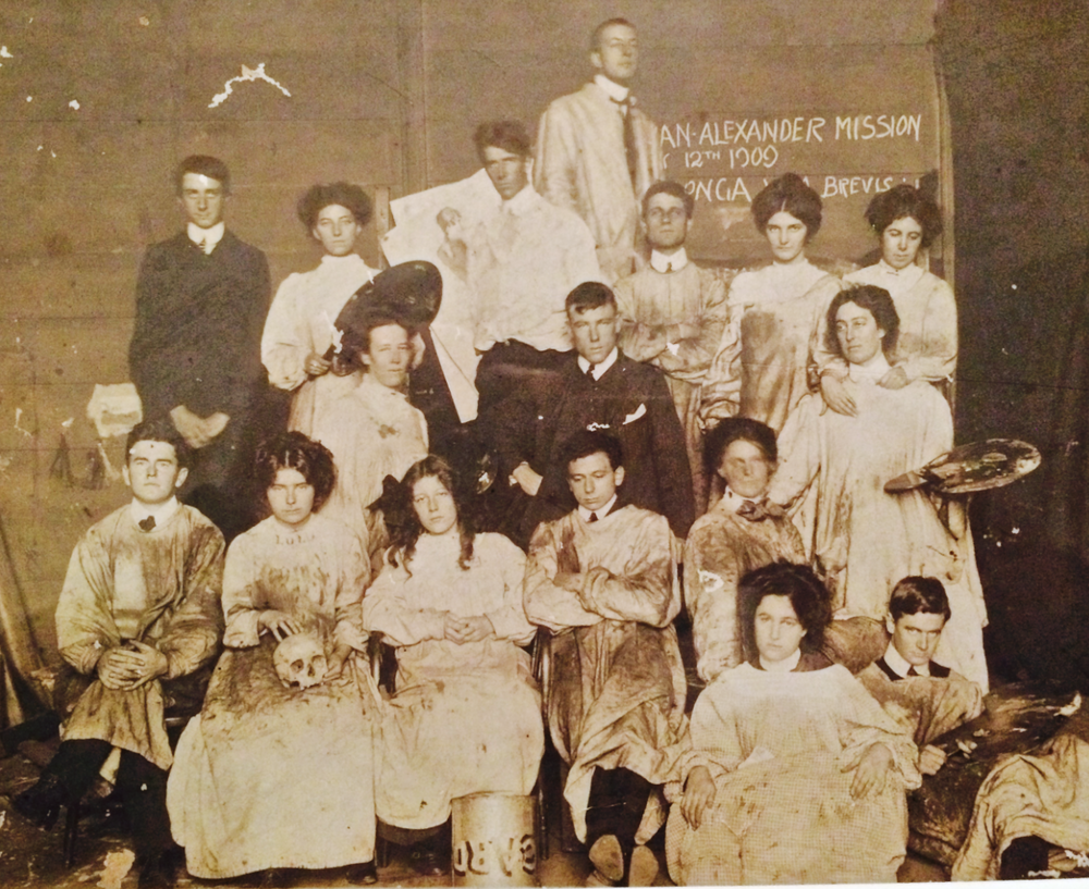 National Gallery School of victoria Art School Students 1909: Stella (Lulu) with scull, Monty seated centER.
