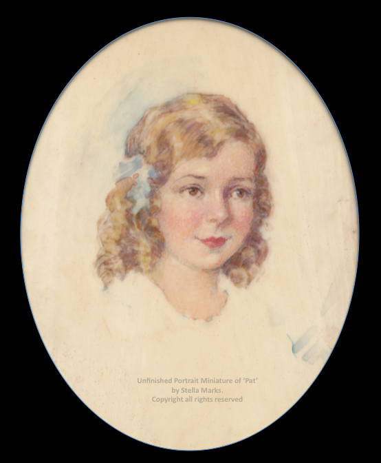 Portrait Miniature of 'Pat' aged 7 or 8 (unfinished) by Stella Marks. Copyright Stella Marks' Estate all rights reserved. Private Collection.