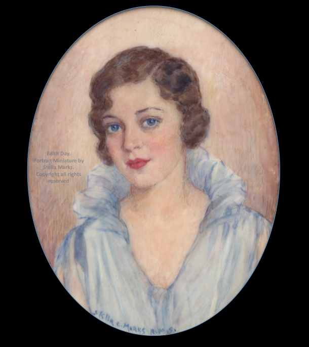 Portrait Miniature of Edith Day by Stella Marks. Copyright Stella Marks' Estate all rights reserved. Private Collection.